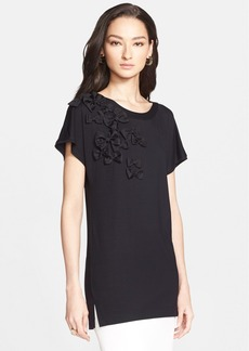 St. John Collection Organza Bow Jersey Tee