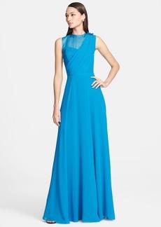 St. John Collection Organza Inset Drape Bodice Silk Georgette Gown