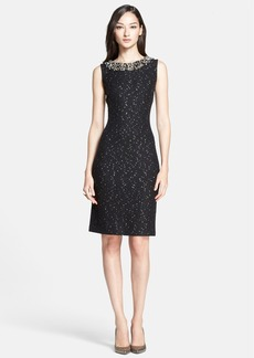 St. John Collection Paillette Knit Dress with Hand Beaded Neckline