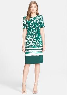 St. John Collection Painted Leopard Print Stretch Silk Crêpe de Chine Dress
