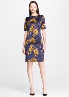 St. John Collection Painted Rose Print Charmeuse Dress