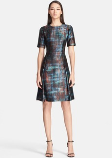 St. John Collection Painterly Plaid Mikado Fit & Flare Dress