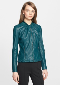 St. John Collection Perforated Nappa Leather Jacket