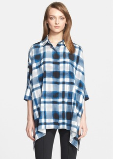 St. John Collection Plaid Print Silk Draped Blouse