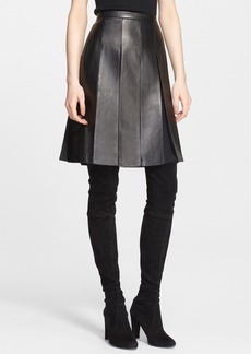 St. John Collection Pleated Nappa Leather & Silk Skirt