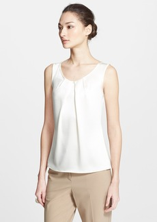 St. John Collection Pleated Scoop Neck Liquid Satin Shell