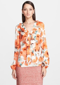 St. John Collection Poppy Print Stretch Silk Charmeuse Blouse