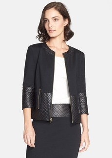 St. John Collection Quilted Leather Trim Milano Knit Jacket