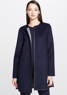 St. John Collection Reversible Coat with Leather Trim