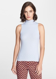 St. John Collection Ribbed Mock Neck Shell