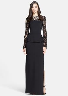 St. John Collection Rose Noir Lace Yoke Satin Peplum Gown