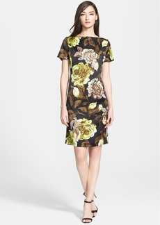 St. John Collection Rose Print Silk Charmeuse Dress