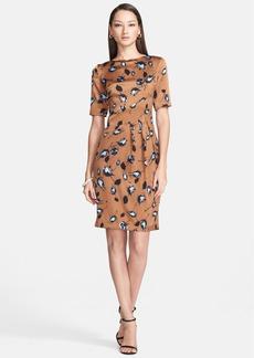 St. John Collection Rosebud Print Silk Charmeuse Dress