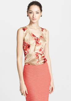 St. John Collection Ruffle Detail Print Silk Shell