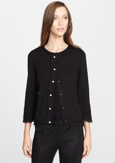 St. John Collection Ruffle Detail Silk & Cashmere Cardigan