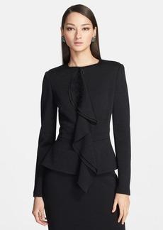 St. John Collection Ruffle Jacquard Knit Peplum Jacket