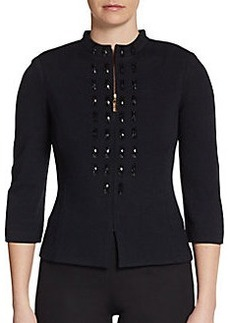 St. John Collection Santana Embellished Mockneck Jacket