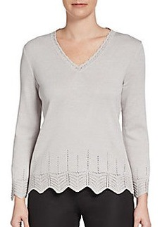 St. John Collection Santana Pointelle Pullover