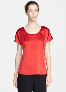 St. John Collection Scoop Neck Silk Charmeuse Blouse