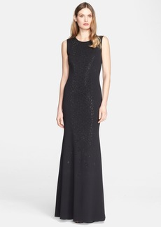 St. John Collection Sequin Embellished Milano Knit Gown