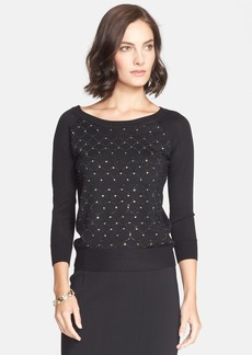 St. John Collection Sequin Lattice Jersey Sweater