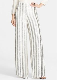 St. John Collection Sequin Stripe Wide Leg Pants