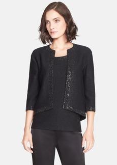 St. John Collection Sequin Trim Shimmer Knit Crop Jacket