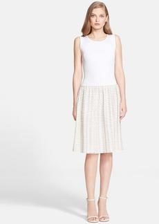 St. John Collection Sheer Scallop Stripe Knit Dress