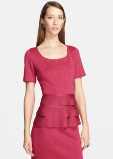St. John Collection Shimmer Milano Knit Tiered Ruffle Peplum Top
