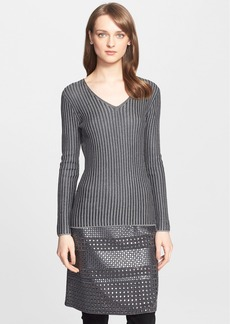 St. John Collection Shimmer Stripe Rib Knit Sweater