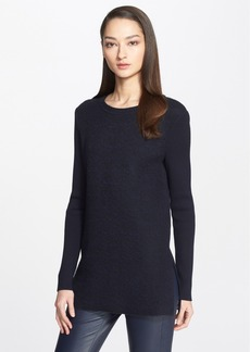 St. John Collection Side Slit Rib Knit Tunic with Bouclé Front