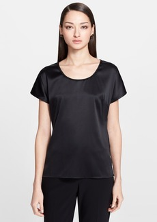 St. John Collection Silk Charmeuse Cap Sleeve Blouse