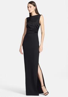 St. John Collection Sleeveless Liquid Satin & Jacquard Knit Gown