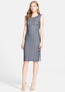 St. John Collection Sleeveless Pointelle Knit Sheath Dress