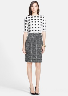 St. John Collection Sparkle Check Knit Dress with Hand Beaded Bodice