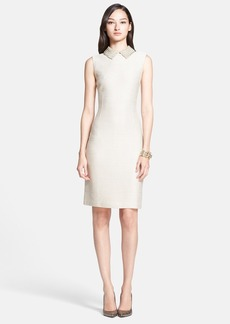 St. John Collection Sparkle Float Knit Sheath Dress with Beaded Collar