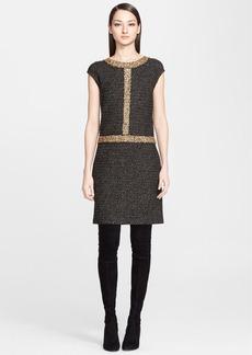 St. John Collection Sparkle Knit Dress with Metallic Eyelash Trim