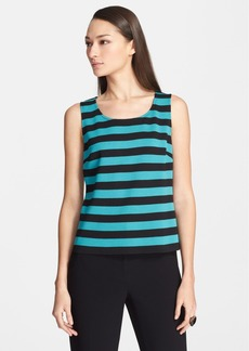 St. John Collection Stripe Milano Knit Scoop Neck Shell