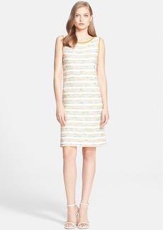 St. John Collection Stripe Shantung Tweed Knit Shift Dress