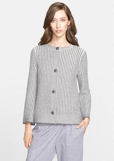 St. John Collection Stripe Wool Blend Knit Swing Cardigan