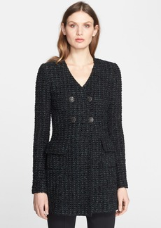 St. John Collection Subtle Tweed Eyelash Knit Double Breasted Jacket