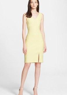 St. John Collection Textured Stripe Knit V-Neck Dress