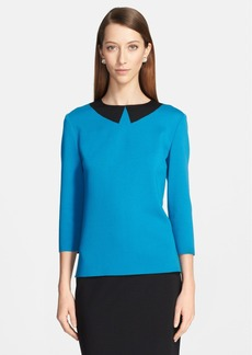 St. John Collection Trompe l'Oeil Intarsia Collar Milano Knit Top