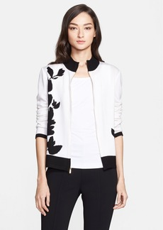 St. John Collection Tulip Jacquard Knit Bomber Cardigan