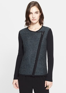 St. John Collection Twill Tweed Knit Moto Cardigan
