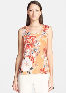 St. John Collection Twist Neck Chrysanthemum Print Charmeuse Shell
