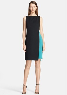 St. John Collection Two-Tone Double Faced Milano Knit Fitted Dress