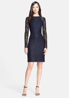 St. John Collection Two-Tone Paillette Knit Dress with Rose Noir Lace Sleeves