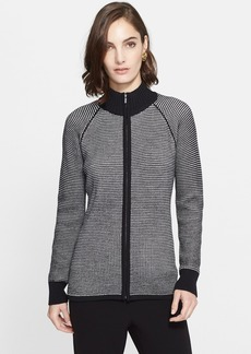 St. John Collection Two-Tone Piqué Welt Knit Cardigan