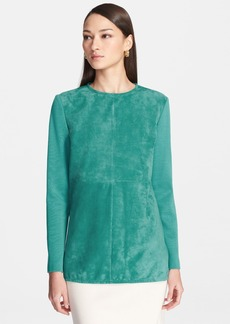 St. John Collection Velvet Suede Front Milano Knit Tunic